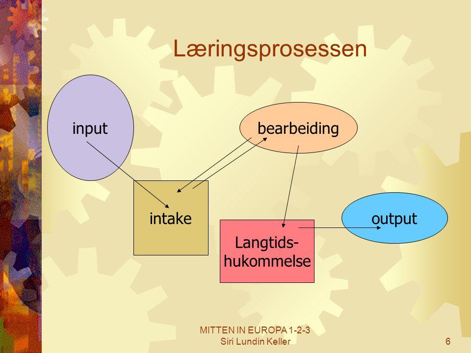 6 Læringsprosessen input intake bearbeiding Langtids- hukommelse output
