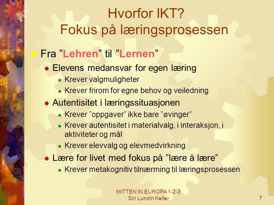 """MITTEN IN EUROPA 1-2-3 Siri Lundin Keller7 Hvorfor IKT? Fokus på læringsprosessen  Fra """"Lehren"""" til """"Lernen""""  Elevens medansvar for egen læring  Kr"""