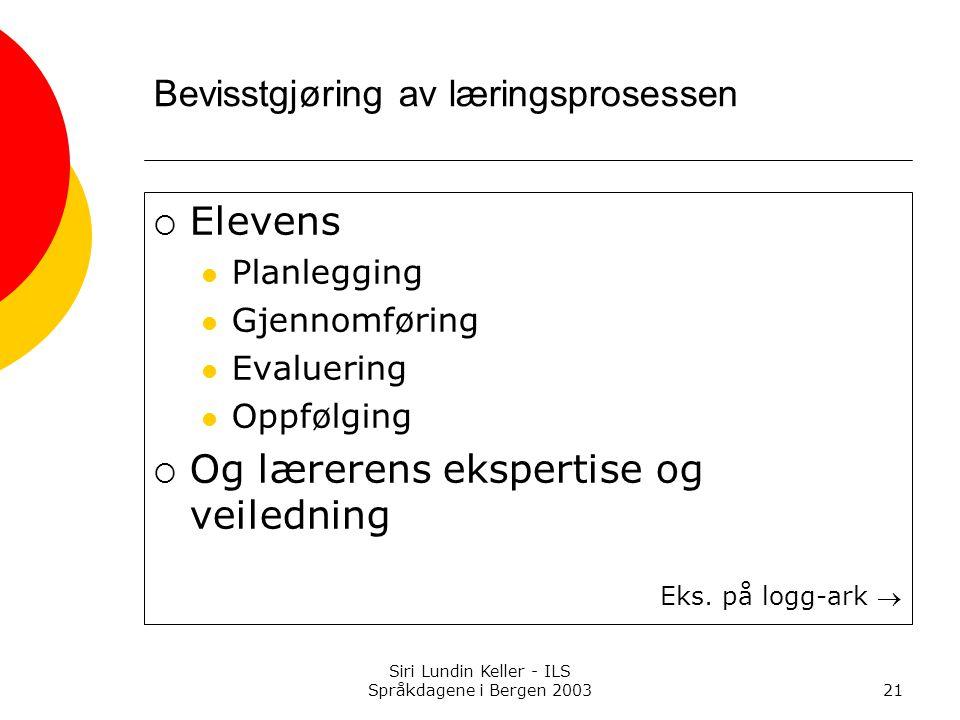 Siri Lundin Keller - ILS Språkdagene i Bergen 200321 Bevisstgjøring av læringsprosessen  Elevens Planlegging Gjennomføring Evaluering Oppfølging  Og lærerens ekspertise og veiledning Eks.