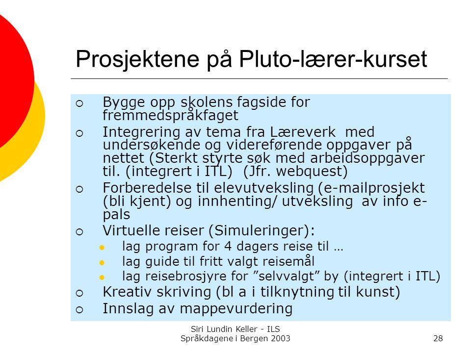 Siri Lundin Keller - ILS Språkdagene i Bergen 200328 Prosjektene på Pluto-lærer-kurset  Bygge opp skolens fagside for fremmedspråkfaget  Integrering av tema fra Læreverk med undersøkende og videreførende oppgaver på nettet (Sterkt styrte søk med arbeidsoppgaver til.