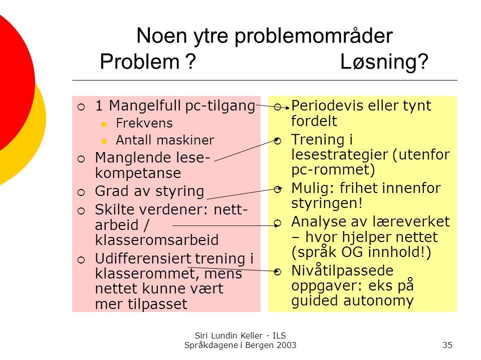 Siri Lundin Keller - ILS Språkdagene i Bergen 200335 Noen ytre problemområder Problem ?Løsning.