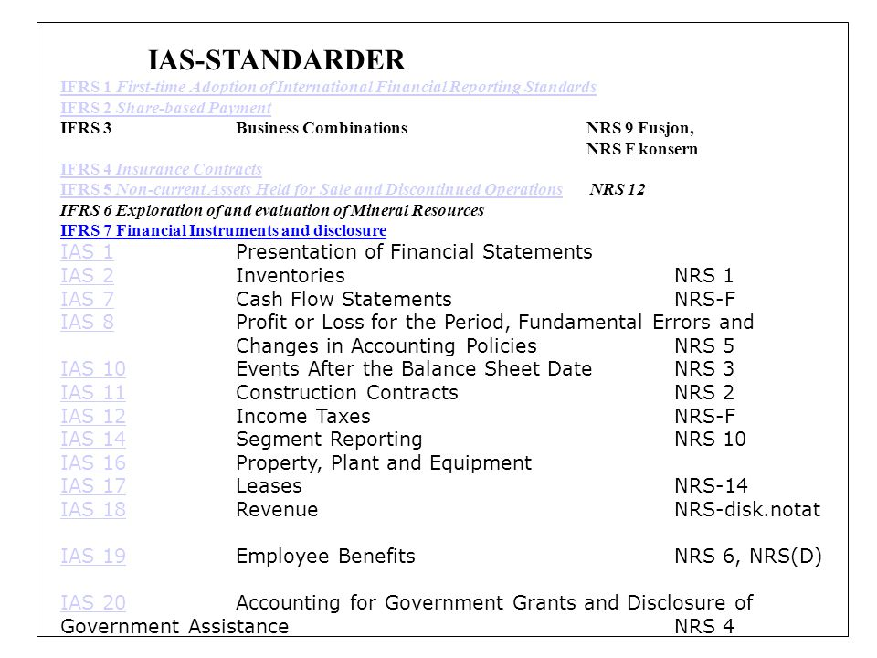 IAS-STANDARDER IFRS 1 First-time Adoption of International Financial Reporting Standards IFRS 2 Share-based Payment IFRS 3Business Combinations NRS 9