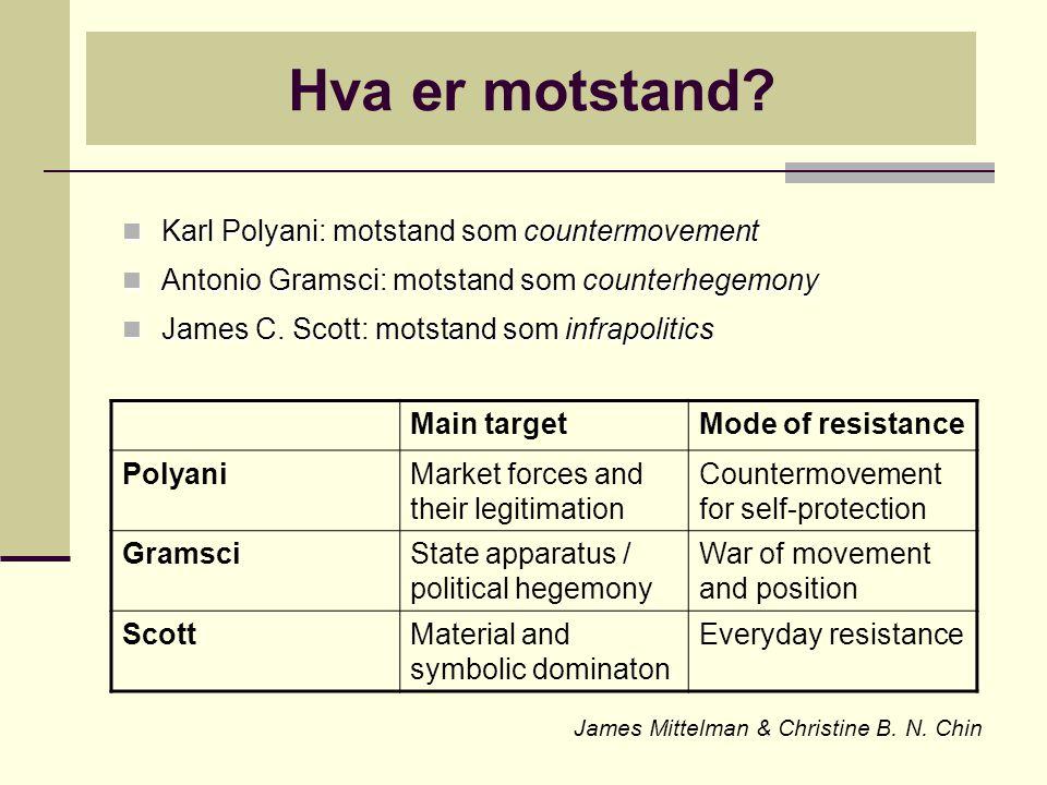 Hva er motstand? Karl Polyani: motstand som countermovement Karl Polyani: motstand som countermovement Antonio Gramsci: motstand som counterhegemony A