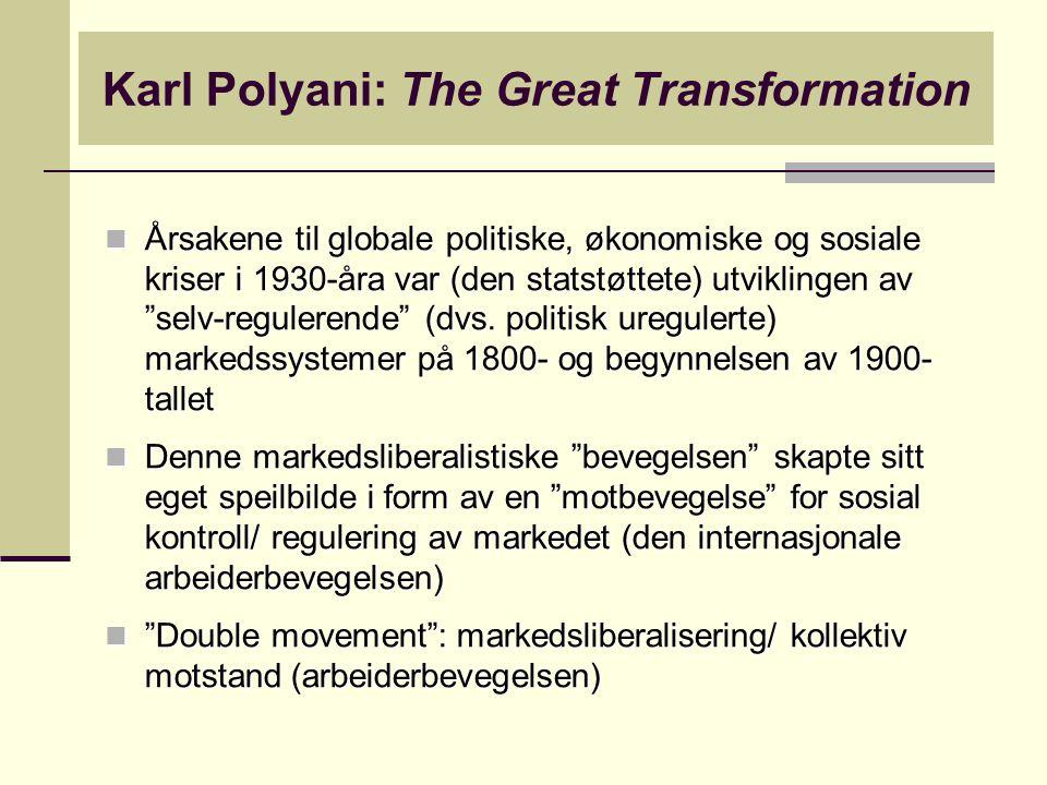 """Karl Polyani: The Great Transformation Årsakene til globale politiske, økonomiske og sosiale kriser i 1930-åra var (den statstøttete) utviklingen av """""""