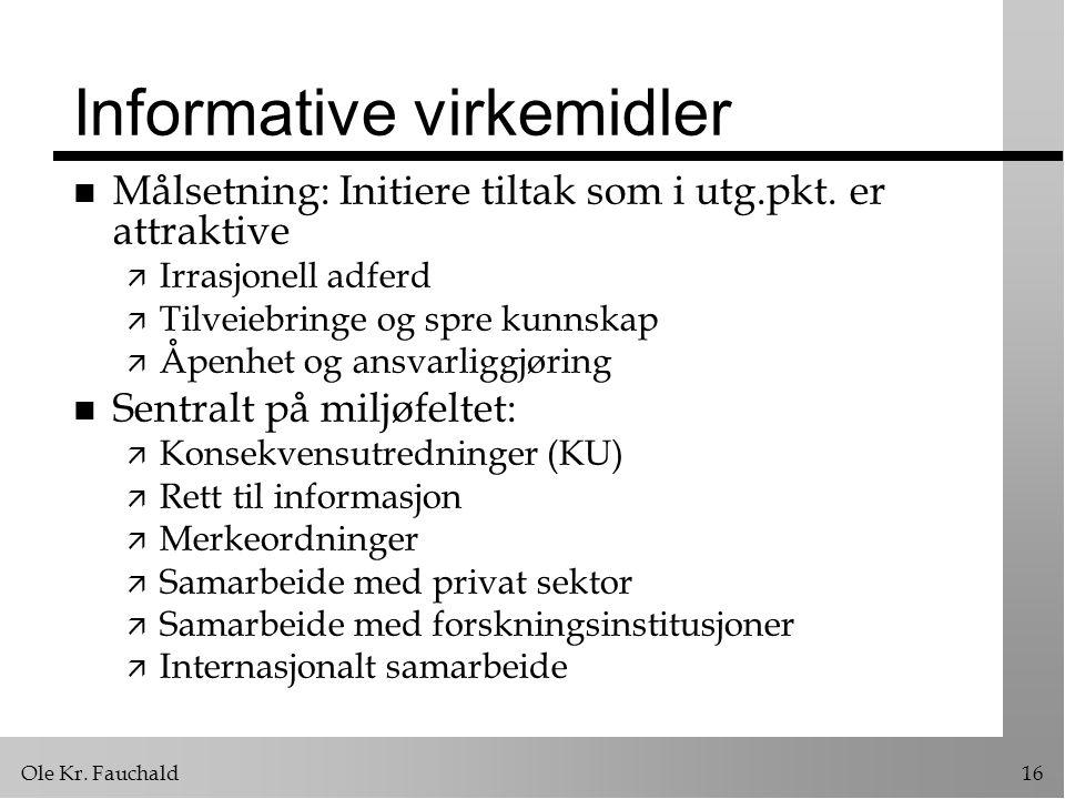 Ole Kr.Fauchald16 Informative virkemidler n Målsetning: Initiere tiltak som i utg.pkt.