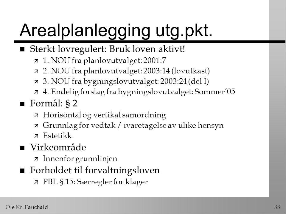 Ole Kr.Fauchald33 Arealplanlegging utg.pkt. n Sterkt lovregulert: Bruk loven aktivt.
