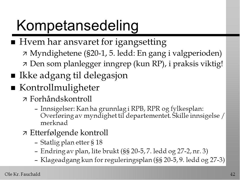 Ole Kr.Fauchald42 Kompetansedeling n Hvem har ansvaret for igangsetting ä Myndighetene (§20-1, 5.