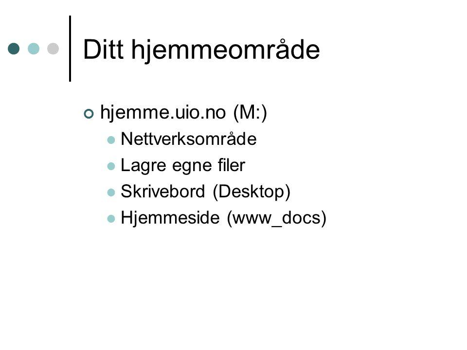 Ditt hjemmeområde hjemme.uio.no (M:) Nettverksområde Lagre egne filer Skrivebord (Desktop) Hjemmeside (www_docs)