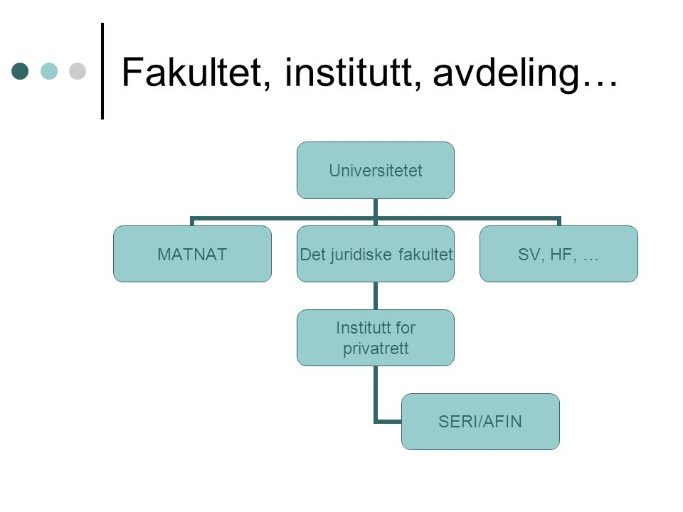 Fakultet, institutt, avdeling… Universitetet MATNAT Det juridiske fakultet Institutt for privatrett SERI/AFIN SV, HF, …