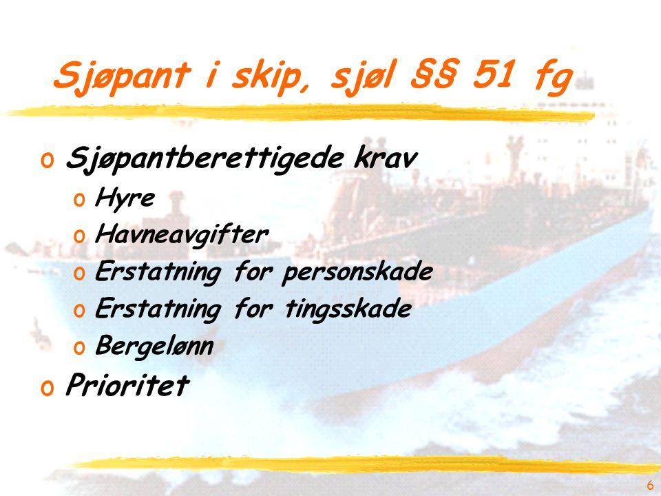 6 Sjøpant i skip, sjøl §§ 51 fg oSjøpantberettigede krav oHyre oHavneavgifter oErstatning for personskade oErstatning for tingsskade oBergelønn oPrioritet