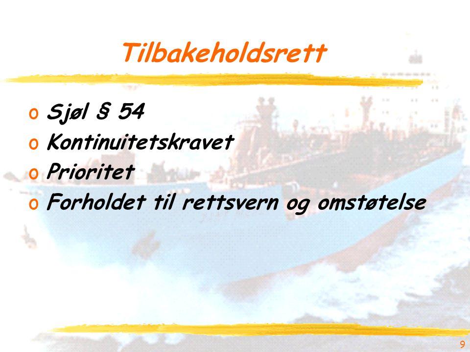 9 Tilbakeholdsrett oSjøl § 54 oKontinuitetskravet oPrioritet oForholdet til rettsvern og omstøtelse