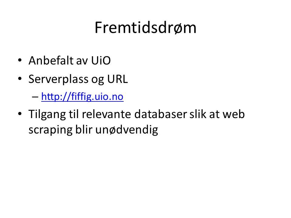Fremtidsdrøm Anbefalt av UiO Serverplass og URL – http://fiffig.uio.no http://fiffig.uio.no Tilgang til relevante databaser slik at web scraping blir unødvendig