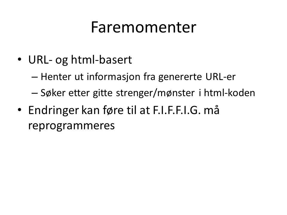 Faremomenter URL- og html-basert – Henter ut informasjon fra genererte URL-er – Søker etter gitte strenger/mønster i html-koden Endringer kan føre til at F.I.F.F.I.G.