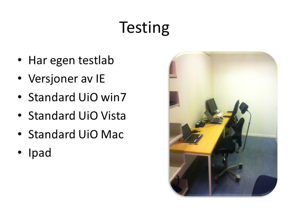 Testing Har egen testlab Versjoner av IE Standard UiO win7 Standard UiO Vista Standard UiO Mac Ipad