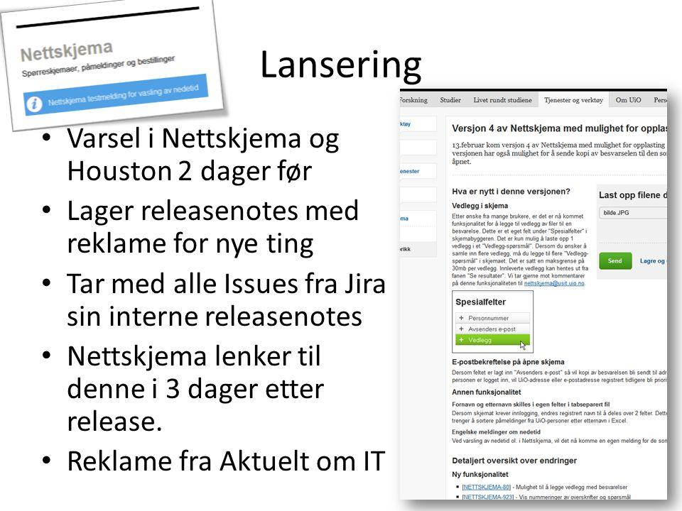 Lansering Varsel i Nettskjema og Houston 2 dager før Lager releasenotes med reklame for nye ting Tar med alle Issues fra Jira sin interne releasenotes Nettskjema lenker til denne i 3 dager etter release.