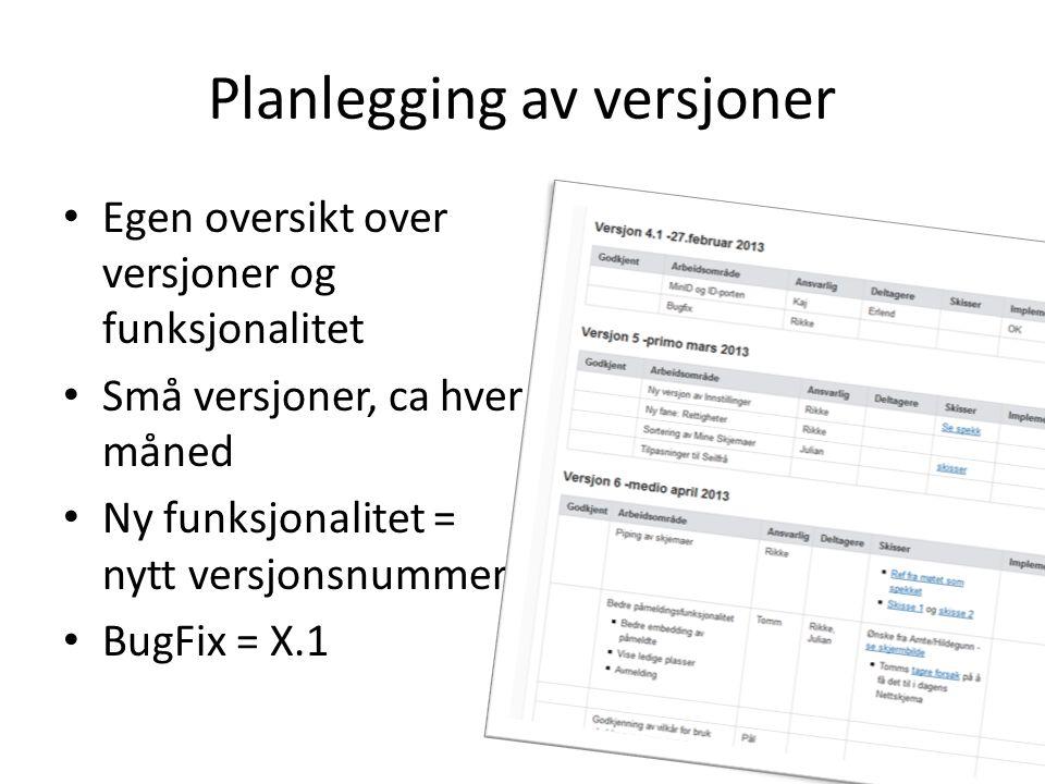 Planlegging av versjoner Egen oversikt over versjoner og funksjonalitet Små versjoner, ca hver måned Ny funksjonalitet = nytt versjonsnummer BugFix =