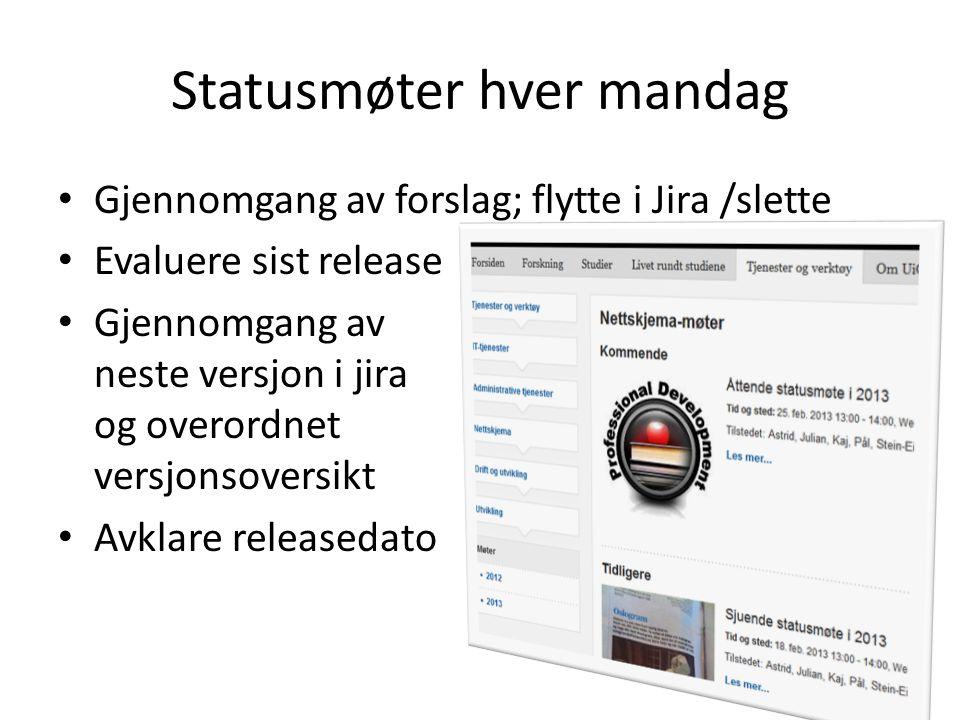 Statusmøter hver mandag Gjennomgang av forslag; flytte i Jira /slette Evaluere sist release Gjennomgang av neste versjon i jira og overordnet versjons