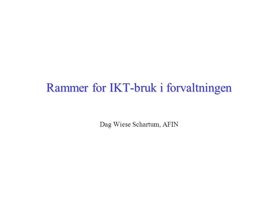 Rammer for IKT-bruk i forvaltningen Dag Wiese Schartum, AFIN