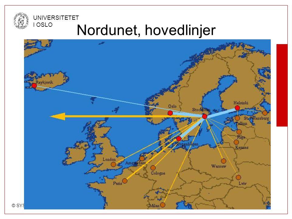 © SYSTEM- OG DRIFTSSEKSJONEN, USIT UNIVERSITETET I OSLO Nordunet, hovedlinjer