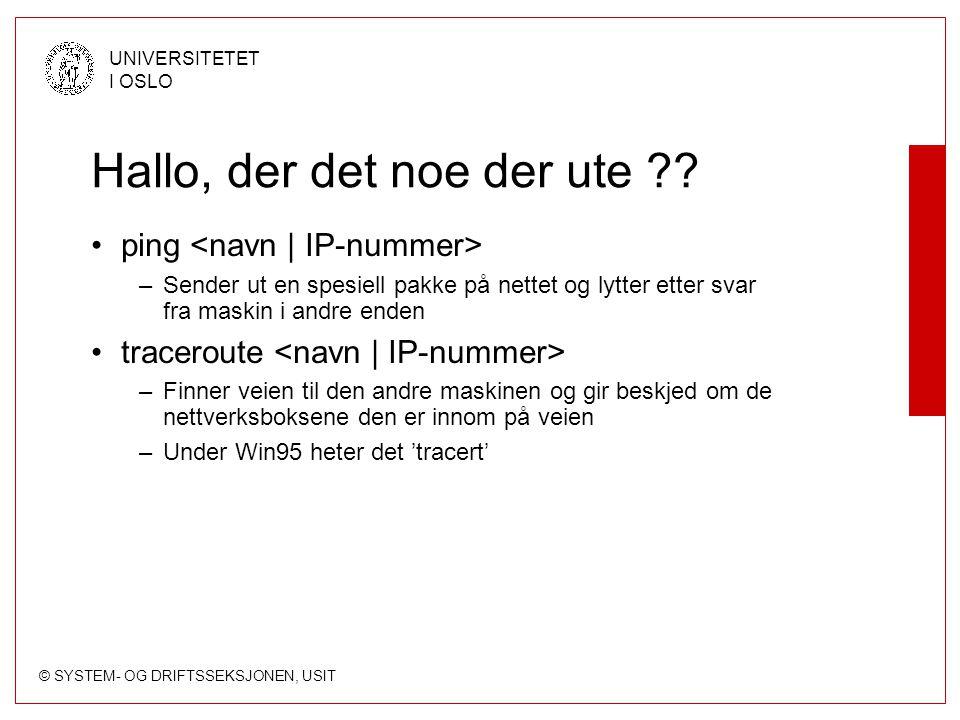 © SYSTEM- OG DRIFTSSEKSJONEN, USIT UNIVERSITETET I OSLO Hallo, der det noe der ute ?? ping –Sender ut en spesiell pakke på nettet og lytter etter svar