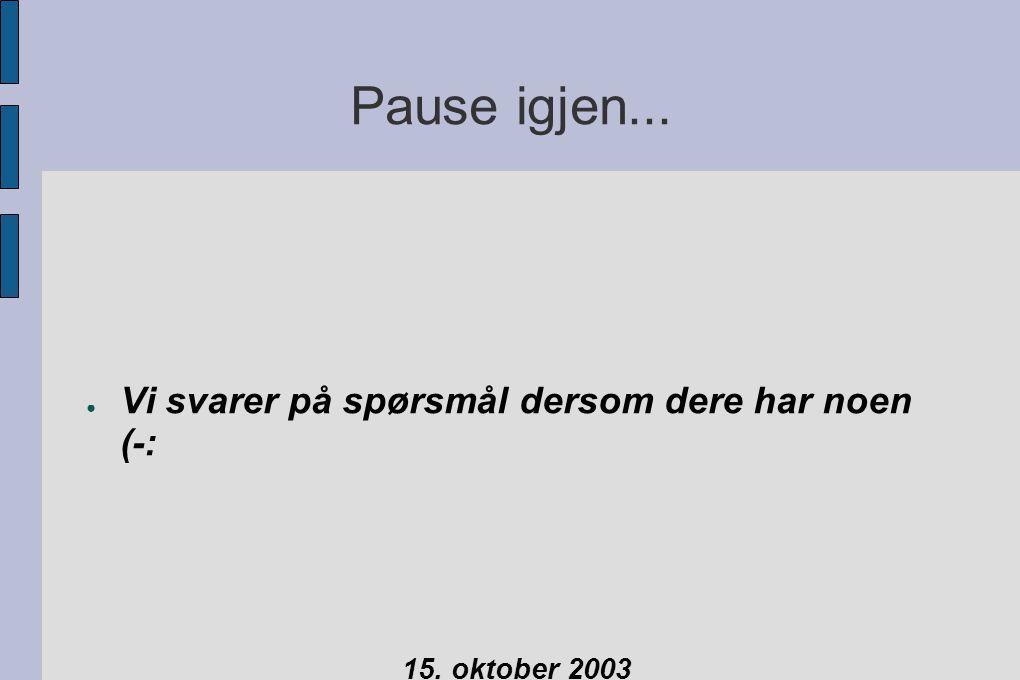 Pause igjen... ● Vi svarer på spørsmål dersom dere har noen (-: 15. oktober 2003