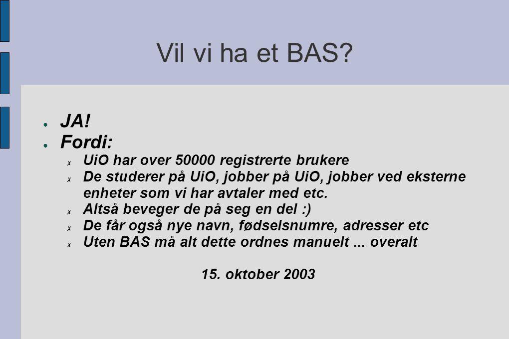 Vil vi ha et BAS. ● JA.