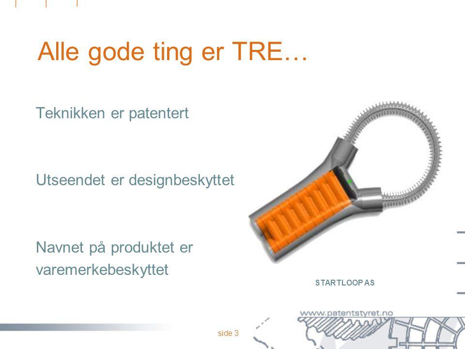 side 3 Alle gode ting er TRE… Teknikken er patentert Utseendet er designbeskyttet Navnet på produktet er varemerkebeskyttet STARTLOOP AS