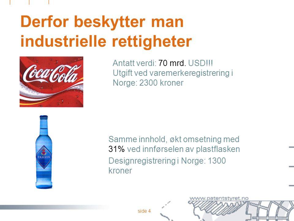 side 4 Derfor beskytter man industrielle rettigheter Antatt verdi: 70 mrd. USD!!! Utgift ved varemerkeregistrering i Norge: 2300 kroner Samme innhold,
