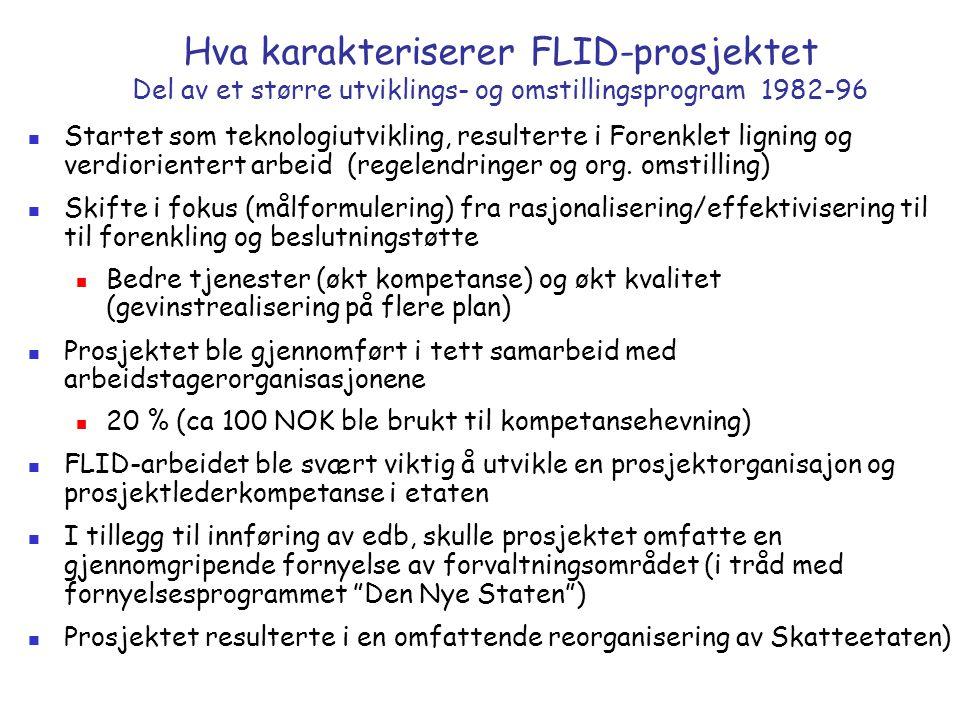 Hva karakteriserer FLID-prosjektet Del av et større utviklings- og omstillingsprogram 1982-96 Startet som teknologiutvikling, resulterte i Forenklet ligning og verdiorientert arbeid (regelendringer og org.