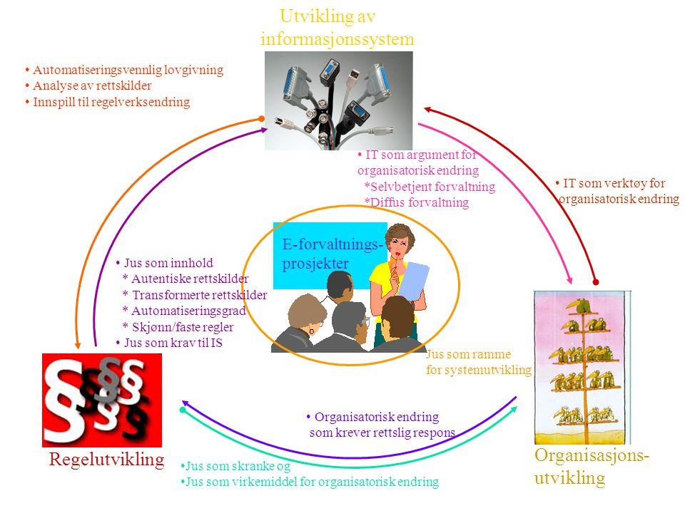 Regelutvikling Organisasjons- utvikling Utvikling av informasjonssystem E-forvaltnings- prosjekter Automatiseringsvennlig lovgivning Analyse av rettsk