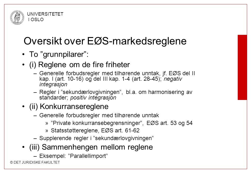 © DET JURIDISKE FAKULTET UNIVERSITETET I OSLO Oversikt over EØS-markedsreglene To grunnpilarer : (i) Reglene om de fire friheter –Generelle forbudsregler med tilhørende unntak, jf.