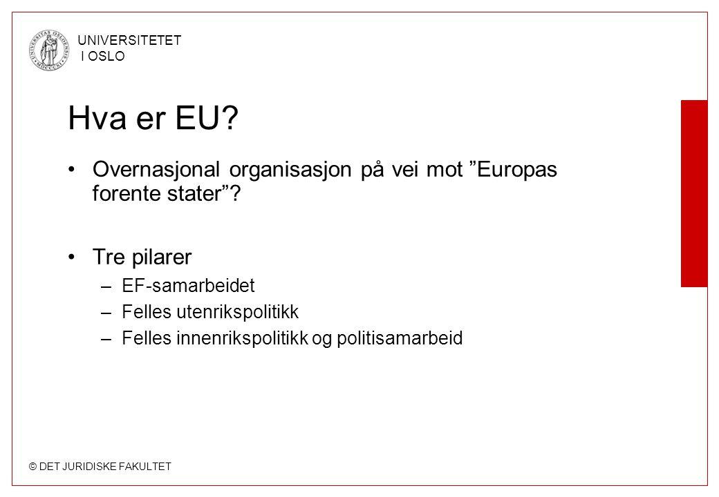 """© DET JURIDISKE FAKULTET UNIVERSITETET I OSLO Hva er EU? Overnasjonal organisasjon på vei mot """"Europas forente stater""""? Tre pilarer –EF-samarbeidet –F"""