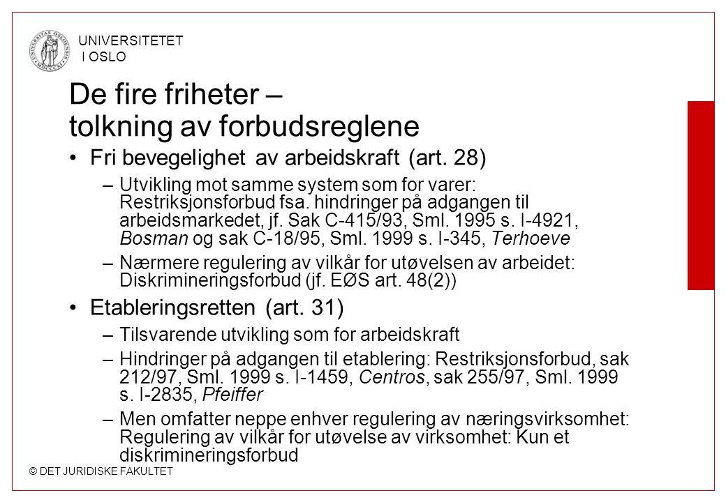 © DET JURIDISKE FAKULTET UNIVERSITETET I OSLO De fire friheter – tolkning av forbudsreglene Fri bevegelighet av arbeidskraft (art. 28) –Utvikling mot