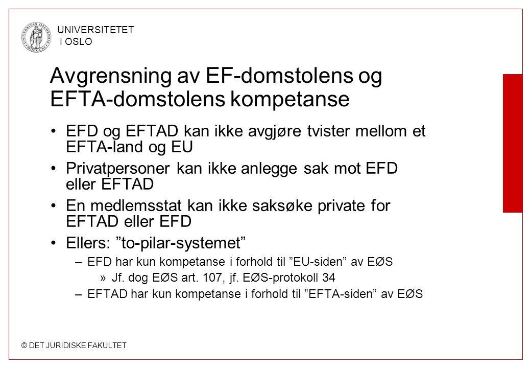 © DET JURIDISKE FAKULTET UNIVERSITETET I OSLO Avgrensning av EF-domstolens og EFTA-domstolens kompetanse EFD og EFTAD kan ikke avgjøre tvister mellom