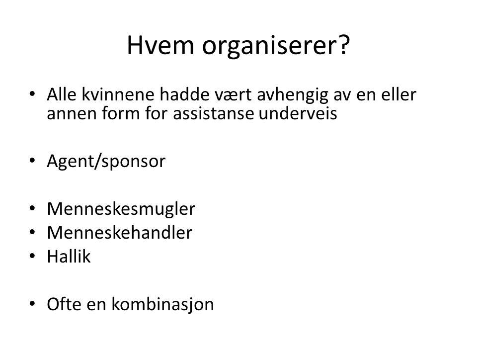 Hvem organiserer? Alle kvinnene hadde vært avhengig av en eller annen form for assistanse underveis Agent/sponsor Menneskesmugler Menneskehandler Hall