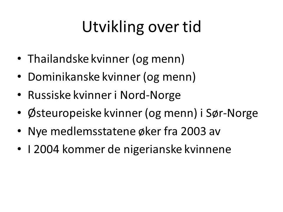 Utvikling over tid Thailandske kvinner (og menn) Dominikanske kvinner (og menn) Russiske kvinner i Nord-Norge Østeuropeiske kvinner (og menn) i Sør-No