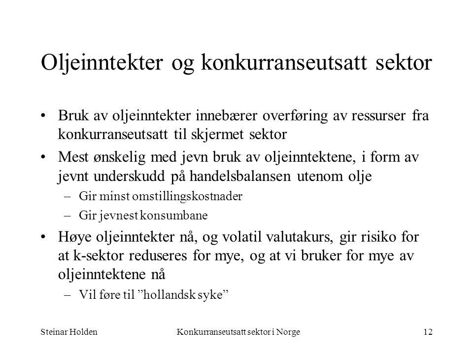 Steinar HoldenKonkurranseutsatt sektor i Norge12 Oljeinntekter og konkurranseutsatt sektor Bruk av oljeinntekter innebærer overføring av ressurser fra