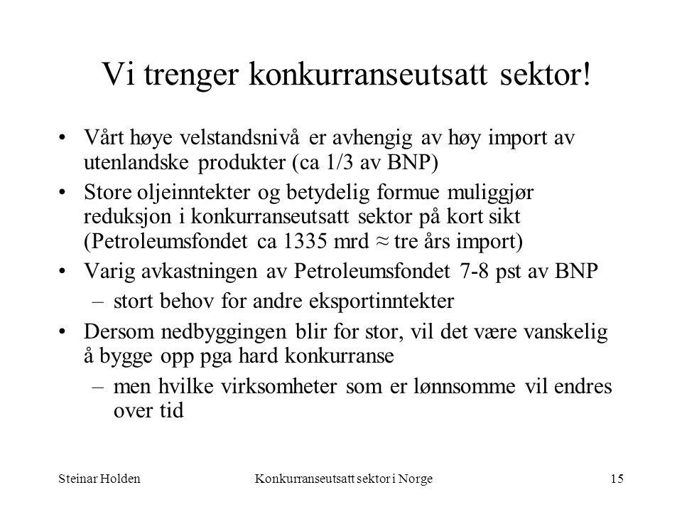 Steinar HoldenKonkurranseutsatt sektor i Norge15 Vi trenger konkurranseutsatt sektor! Vårt høye velstandsnivå er avhengig av høy import av utenlandske