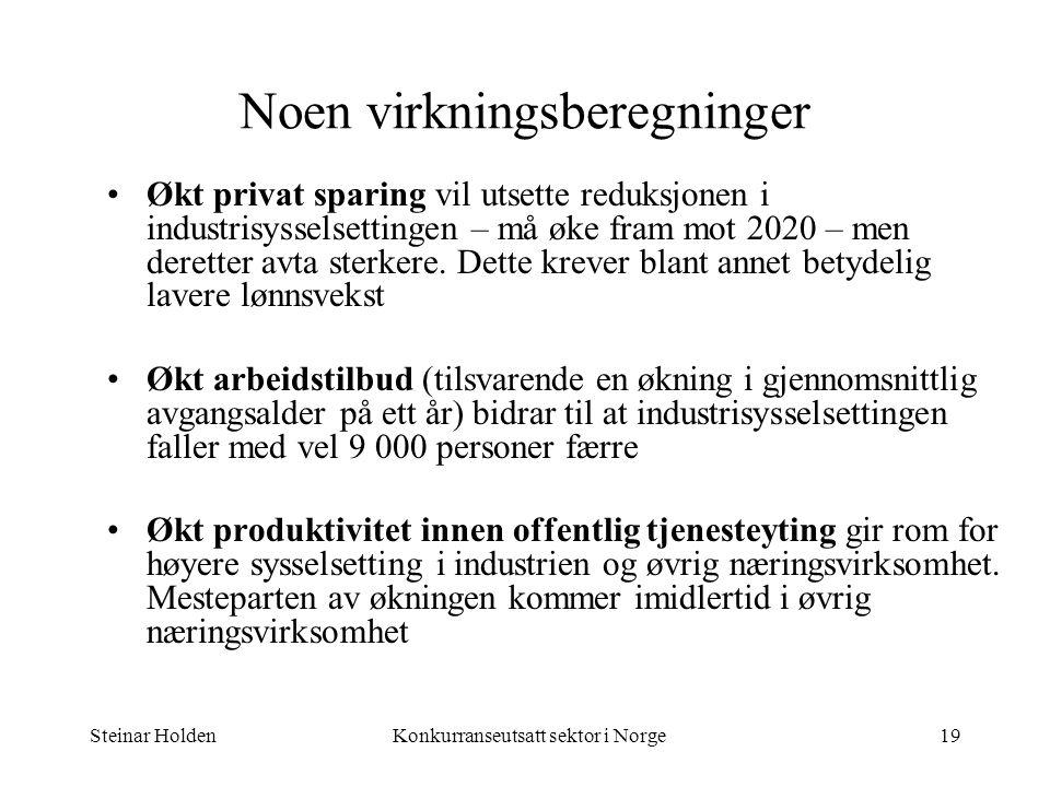 Steinar HoldenKonkurranseutsatt sektor i Norge19 Noen virkningsberegninger Økt privat sparing vil utsette reduksjonen i industrisysselsettingen – må ø