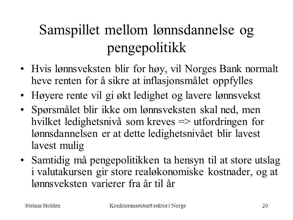 Steinar HoldenKonkurranseutsatt sektor i Norge20 Samspillet mellom lønnsdannelse og pengepolitikk Hvis lønnsveksten blir for høy, vil Norges Bank norm