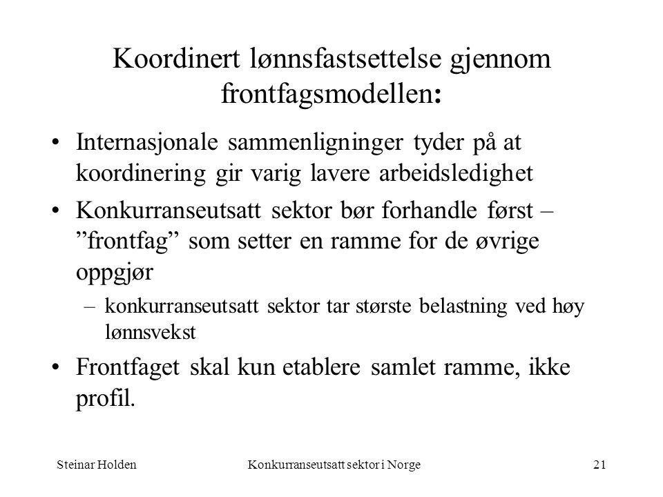 Steinar HoldenKonkurranseutsatt sektor i Norge21 Koordinert lønnsfastsettelse gjennom frontfagsmodellen: Internasjonale sammenligninger tyder på at ko