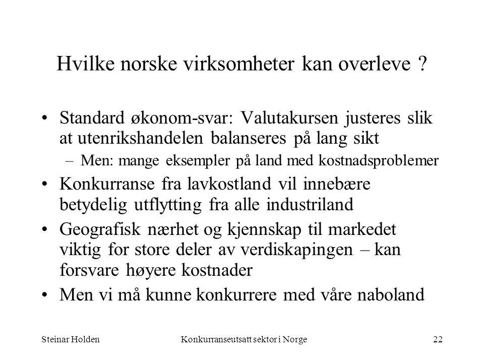 Steinar HoldenKonkurranseutsatt sektor i Norge22 Hvilke norske virksomheter kan overleve ? Standard økonom-svar: Valutakursen justeres slik at utenrik