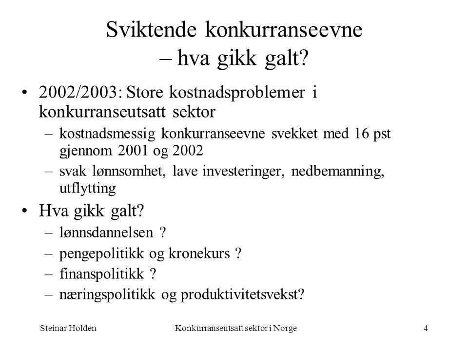 Steinar HoldenKonkurranseutsatt sektor i Norge4 Sviktende konkurranseevne – hva gikk galt? 2002/2003: Store kostnadsproblemer i konkurranseutsatt sekt