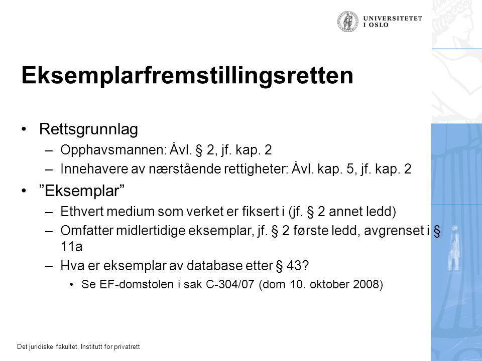 Det juridiske fakultet, Institutt for privatrett Eksemplarfremstillingsretten Rettsgrunnlag –Opphavsmannen: Åvl.