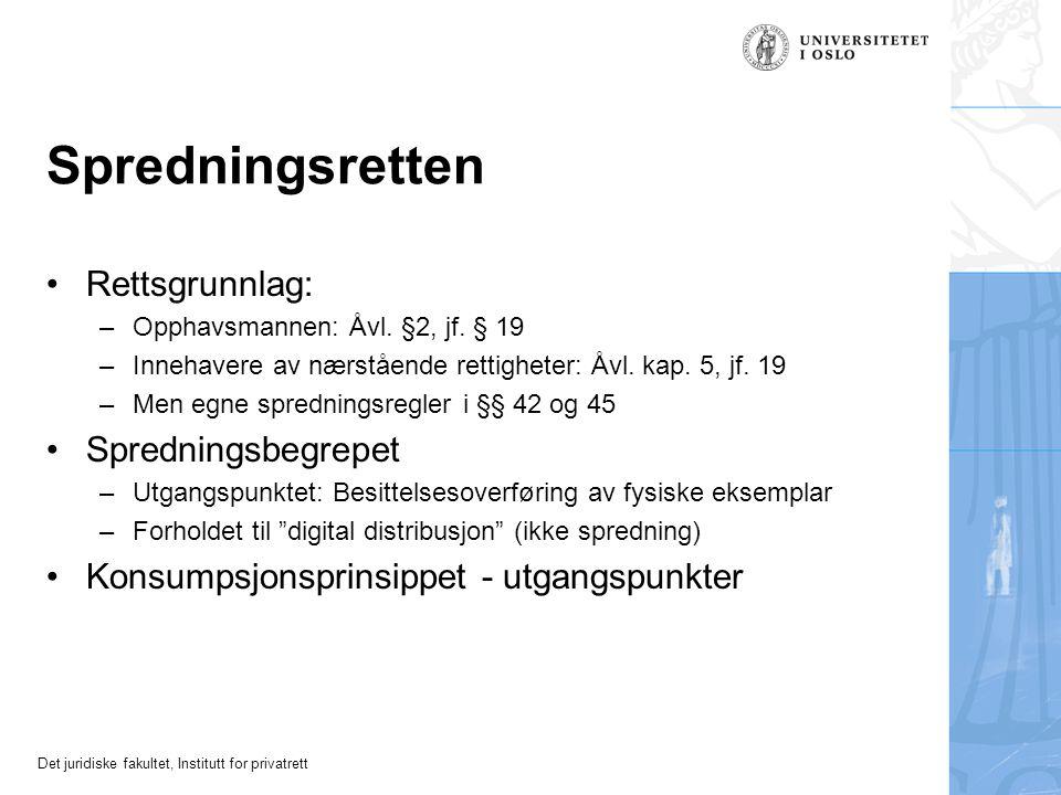 Det juridiske fakultet, Institutt for privatrett Spredningsretten Rettsgrunnlag: –Opphavsmannen: Åvl.