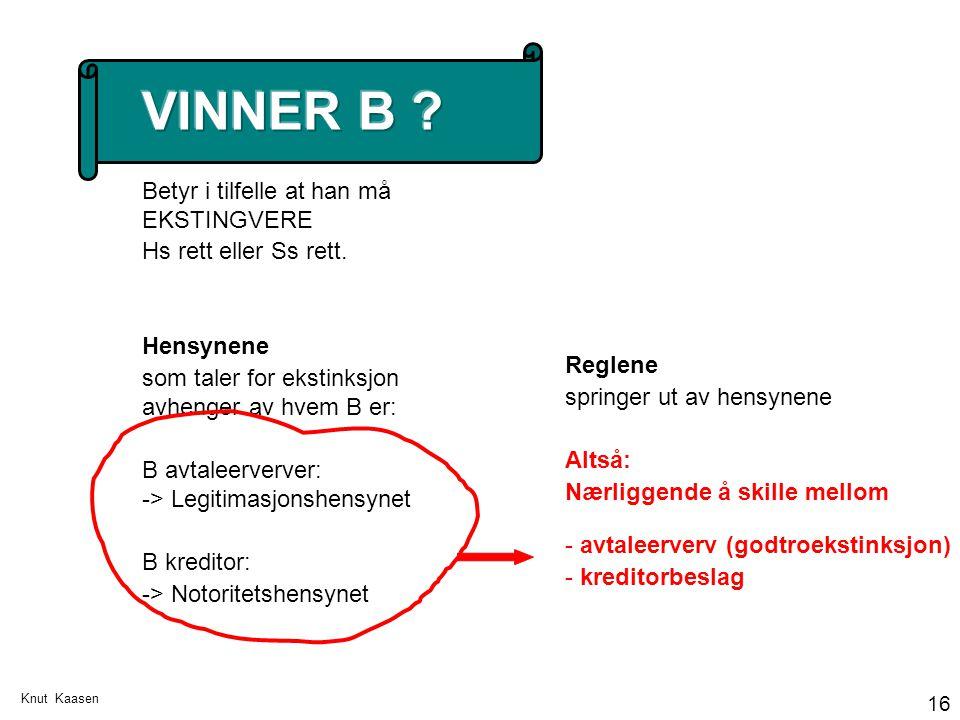 Knut Kaasen 16 Reglene springer ut av hensynene Altså: Nærliggende å skille mellom - avtaleerverv (godtroekstinksjon) - kreditorbeslag