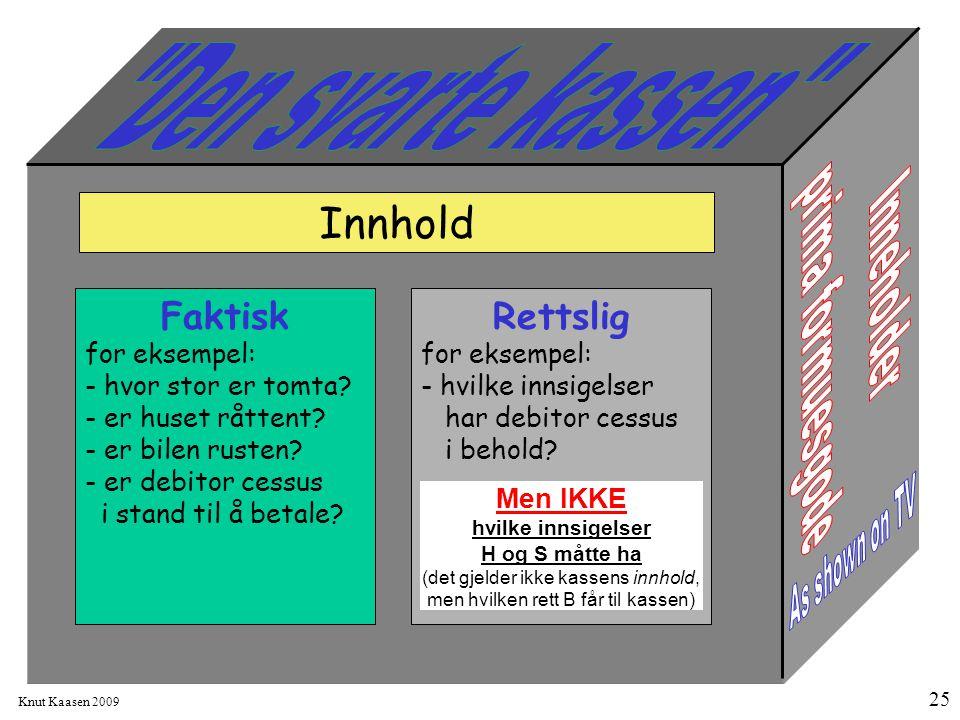 Knut Kaasen 2009 25 Faktisk for eksempel: - hvor stor er tomta? - er huset råttent? - er bilen rusten? - er debitor cessus i stand til å betale? Innho