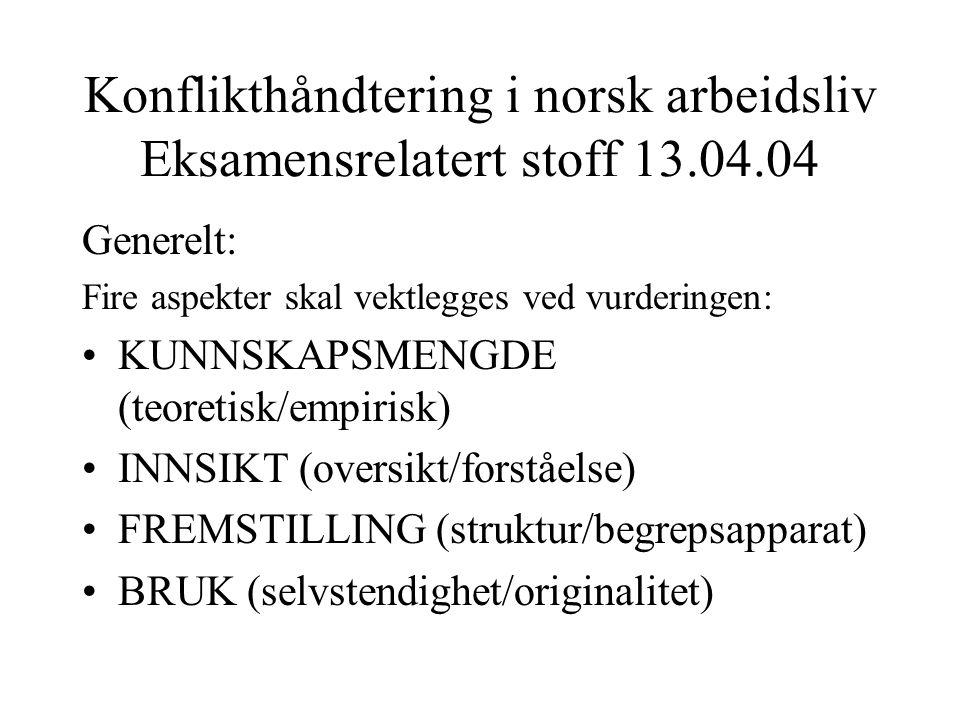 Konflikthåndtering i norsk arbeidsliv Eksamensrelatert stoff 13.04.04 Generelt: Fire aspekter skal vektlegges ved vurderingen: KUNNSKAPSMENGDE (teoret