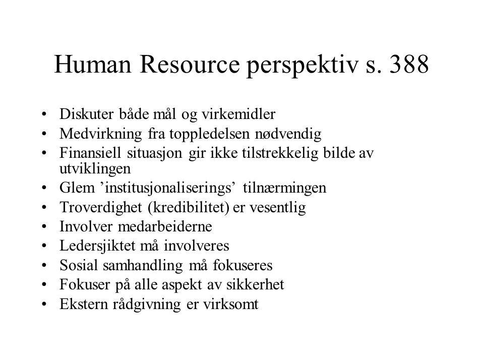 Human Resource perspektiv s. 388 Diskuter både mål og virkemidler Medvirkning fra toppledelsen nødvendig Finansiell situasjon gir ikke tilstrekkelig b