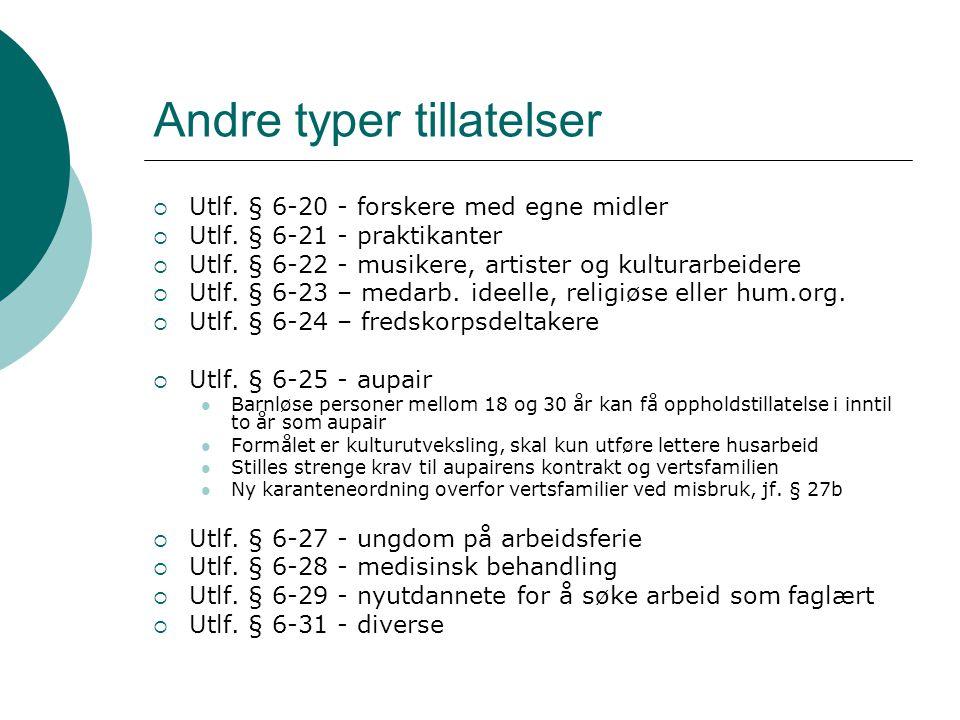 Andre typer tillatelser  Utlf. § 6-20 - forskere med egne midler  Utlf. § 6-21 - praktikanter  Utlf. § 6-22 - musikere, artister og kulturarbeidere